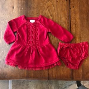 Knit Red Dress Size 3-6M